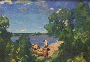 fishermen on the lake (sold) by grigori mikhailovich bobrovsky