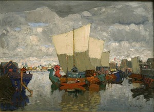 boats in a wharf (sold) by konstantin ivanovich gorbatov