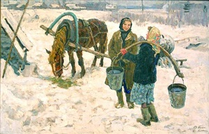 by the well. (winter) by aleksei and sergei tkachev