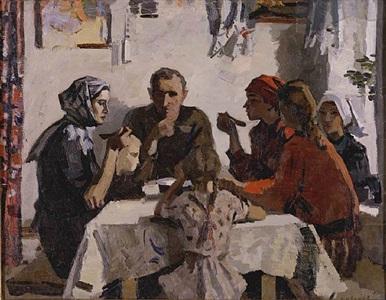 family. 1945. (sketch) by viktor ivanov