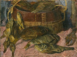 still-life with fish by andrei kurnakov
