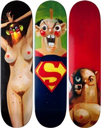 skateboard set of 3 by george condo
