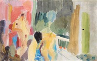 two figures in a london garden room by ivon hitchens