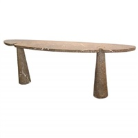 eros console table in solid grey marble by angelo mangiarotti