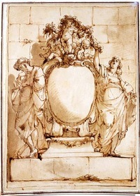 design for a monument or frontispiece, with a male and female figure flanking a cartouche, three putti holding a garland above by ubaldo gandolfi