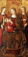 madonna and child with saints barbara and lucy by perea master