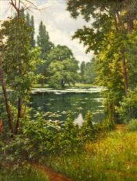 landscape with pond by henri biva