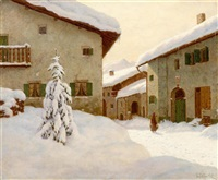 snow-covered village in the winter by choultse lew alexandrovitch