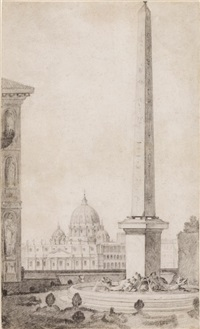 view of st. peter's from the medici garden by jean-augustin renard