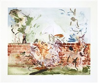 color etching with brick wall by cecily brown