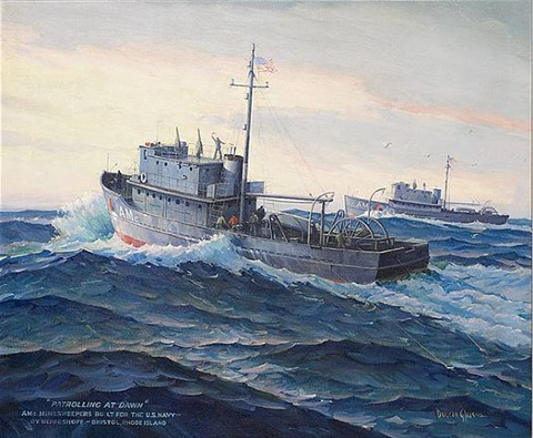 minesweeper patrolling at dawn by joe duncan gleason