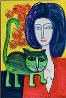 a green cat and his beautiful mistress by rene marcil