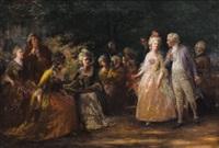 tea in the garden by jennie augusta brownscombe