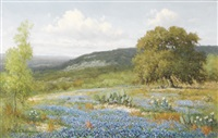 untitled - bluebonnets and cactus by palmer chrisman