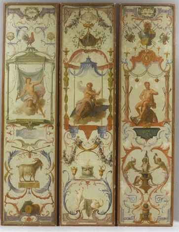 tapestry cartoon (+ 5 others; set of 6 from les douze mois grotesques) by claude audran iii