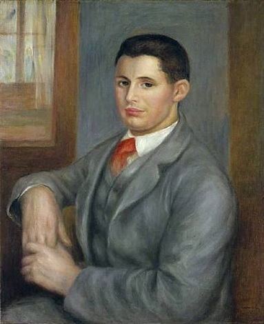 portrait of eugène renoir, nephew of the artist (young man with a red tie) by pierre-auguste renoir