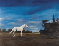 the white horse with trees in the background by zoran nastic