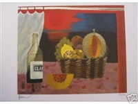 basket with claret by mary fedden