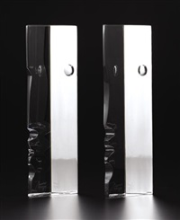 baccarat sculpture (+ another; pair) by robert rigot