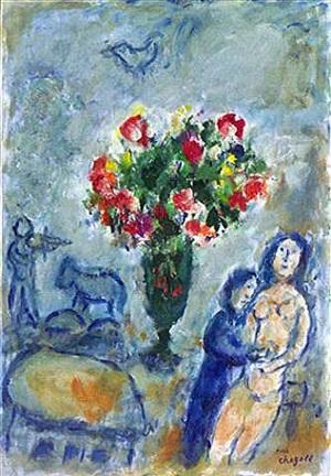 fleurs, amoureux,et maison by marc chagall
