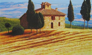 tuscan summer morning by roger hayden johnson