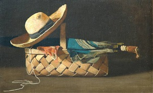 still life with hat, umbrella and basket by john frederick peto