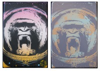 apish angels (2 paintings) by nick walker