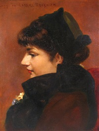 profile portrait of a lady (mrs. james carroll beckwith?) by j.e. haight