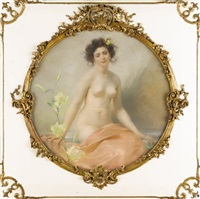 a seated nude with yellow hibiscus by edouard-marie-guillaume dubufe