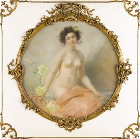 a seated nude with yellow hibiscus by edouard marie guillaume dubufe