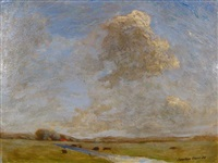 blue sky with clouds above landscape by h. saxton burr