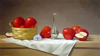 apples with basket and silver vase by w.o. ewing