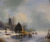 view of a dutch river in winter by jacobus freudenberg