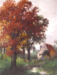 country landscape with chickens and a farmhouse by arthur kaufmann