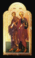 russian orthodox icon depicting saints jacob and diomedes
