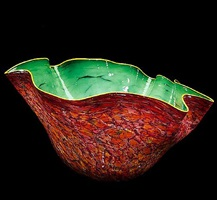 lush green macchia with gold coin lip wrap by dale chihuly