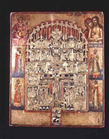 russian orthodox gilt and enamelled icon depicting the crucifiction