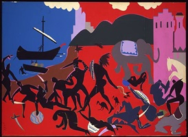 battle with cicones by romare bearden
