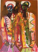 untitled (two obeah figures) by romare bearden
