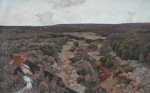 young girl with springer spaniel in the heather by arthur wardle