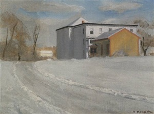 frenchtown in winter - sold by alexander farnham