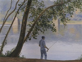 fishing along the delaware, byram by alexander farnham