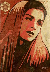 peace mujer by shepard fairey