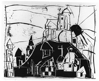city on the mountain - mount st. michel by lyonel feininger