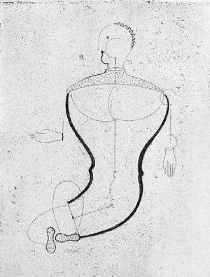 abstract figure facing left by oskar schlemmer