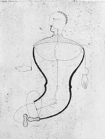 abstract figure facing left by oskar schlemmer