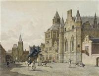 hauptplatz einer imaginären holländischen stadt by johannes huibert (hendric) prins
