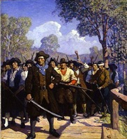 fight on concord bridge by newell convers wyeth