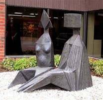 two seated figures i by lynn chadwick