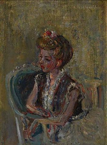 portrait of the artist's wife by constantin terechkovitch